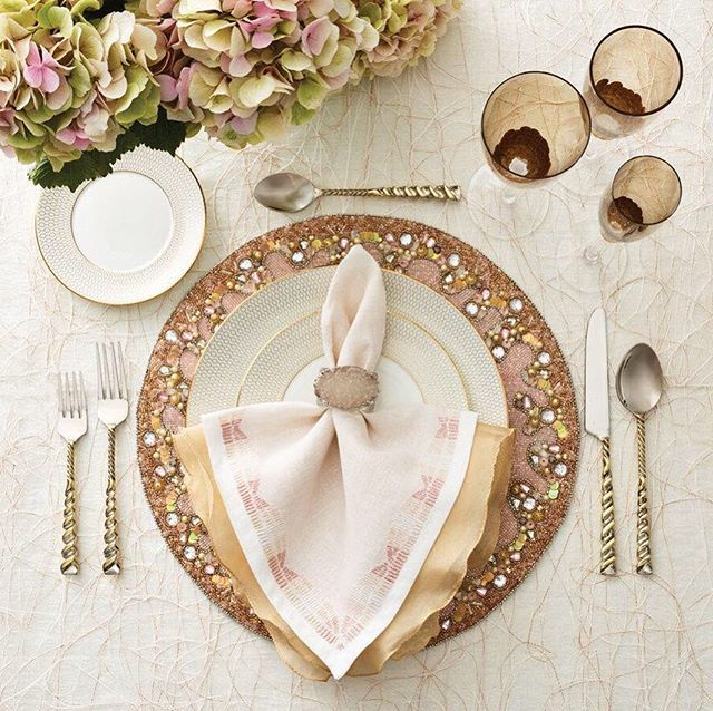 A romantic dinner table or regal wedding, the Aura table setting is ...