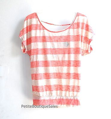 NWT WET SEAL CROP RED STRIPE SHEER LACE BACK TOP TEE T SHIRT BLOUSE SIZE XS