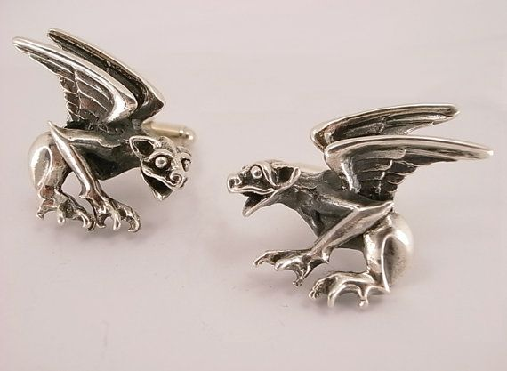 Sterling Silver Gargoyle Cufflinks by MetalCoutureJewelry on Etsy, $300.00
