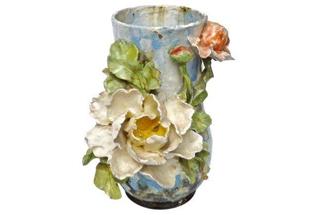 Lrge Antique French Majolica Floral Vase