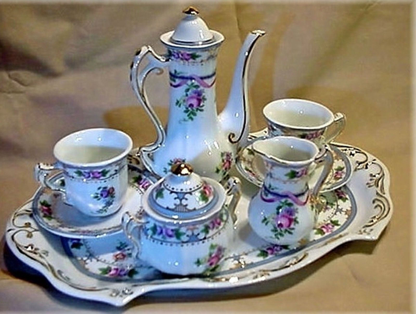Miniature China Limoges Child Blue U0026 Pink Rose Green Leaf Porcelain Tea Set  | TEA SETS ♥ MINIATURE | Pinterest | Pink Roses, Miniatures And Porcelain
