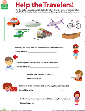 All About Transportation: Which Mode? | Culture, Worksheets and ...