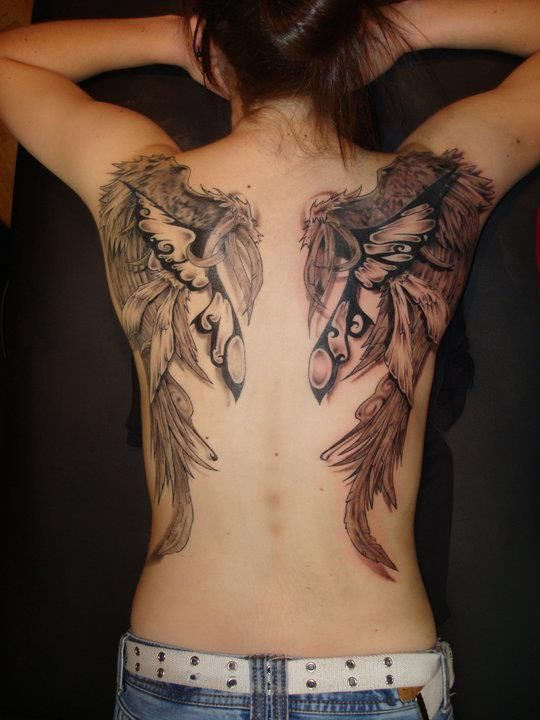 Back Piece Done By Brandon Winston At Truth Ink Tattoos In Fort Wayne Indiana Back Tattoo Wings Tattoo Back Tattoo Women