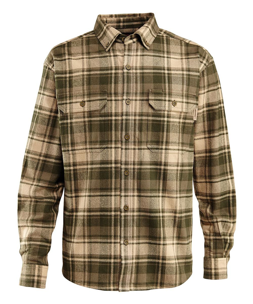 Olive Redwood Heavyweight Flannel Button-Up
