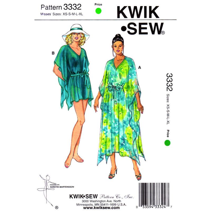 Caftan Pattern Kwik Sew 3332 Kaftan and Beach Cover Up Womens Size ...