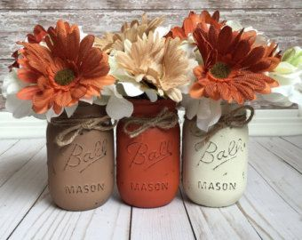 Thanks Mason Jars, Thankful Decor, Painted Mason Jars, Rustic Fall Decor, Fall Wedding, Thanksgiving Table, Fall Mantle, Farmhouse Fall