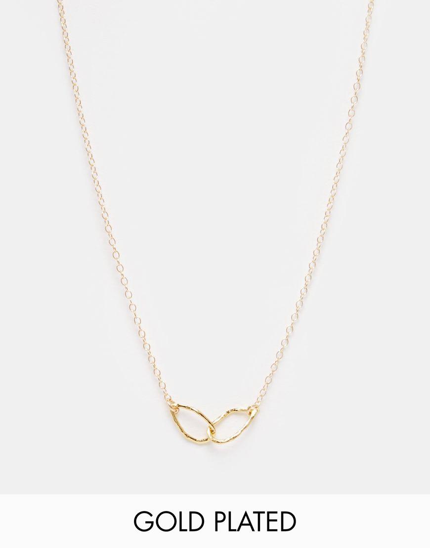 Halskette von Gorjana vergoldet feingliedrige Kette verbundenes Schlaufendesign Ringverschluss 100% Messing
