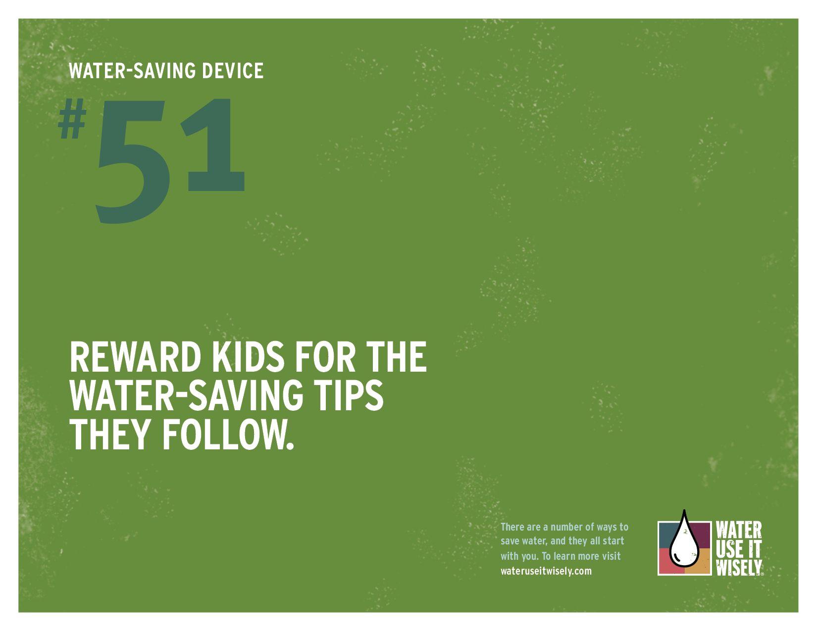 Water Saving Tip Reward Kids For Saving Water