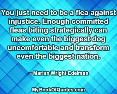 You just need to be a flea against injustice. Enough committed fleas biting strategically can make even the biggest dog uncomfortable and tr...