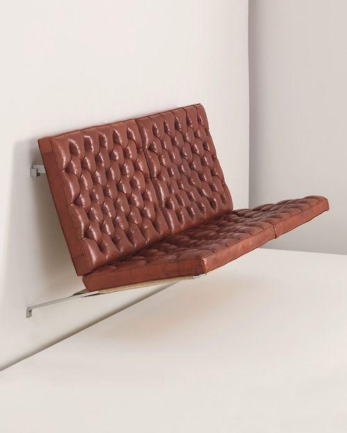 scandinaviancollectors:  Poul Kjærholm,Suspended sofa, model no. PK 26, c.1963.Seamless bent brushed steel frame, original red Nigerien le...
