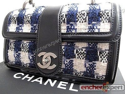 NEUF SAC A MAIN CHANEL TIMELESS 25 CM TWEED BLEU CUIR NOIR HAND BAG PURSE  1800€ 6158d944cfb