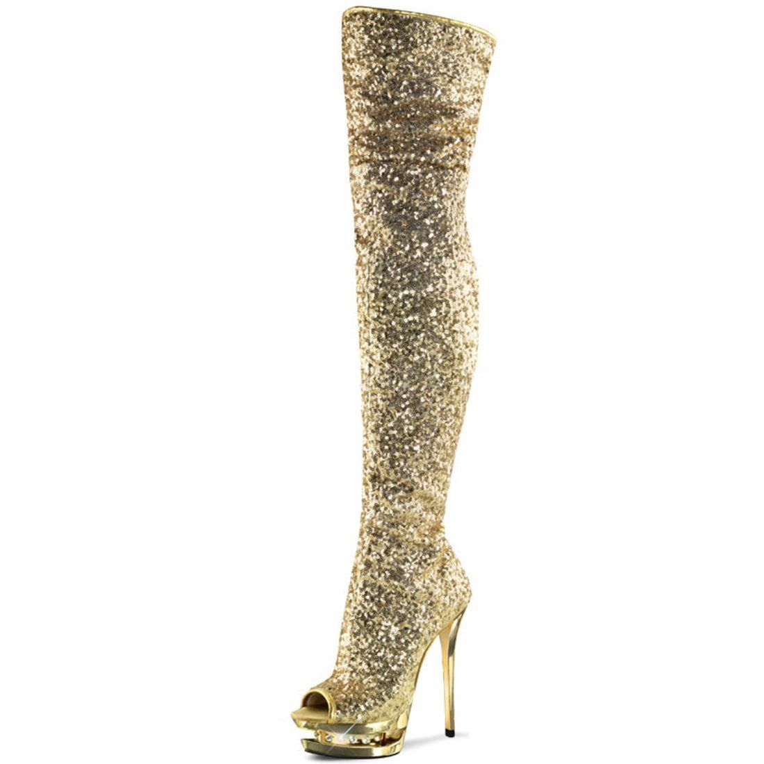 f45123d69 Summitfashions Sparkling Gold Thigh High Platform Boots Double Platforms 6  Inch Heels * Very kind of your presence to drop by to see our image.