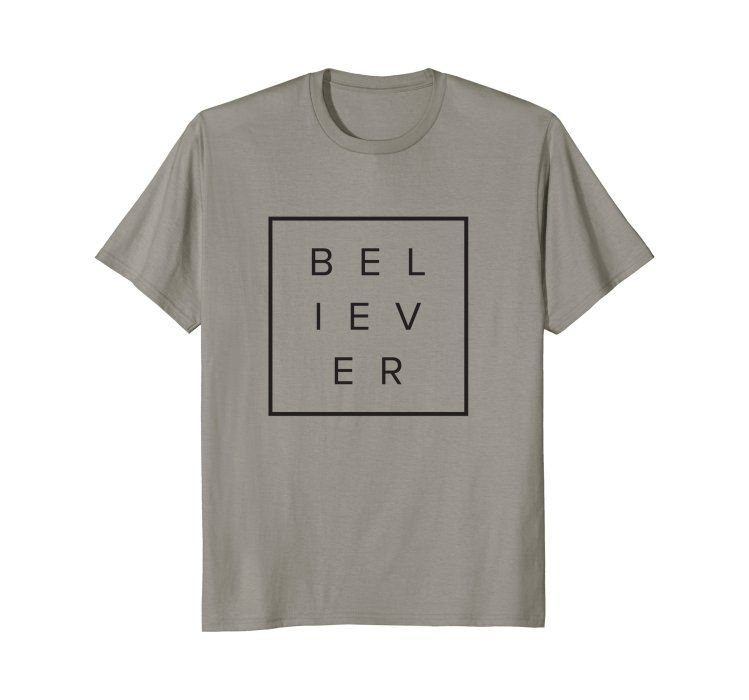 5d4948a0397dff Amazon.com  Believer  Clothing Christian T-shirt design for men or women.  Modern typography box layout. San serif font. Minimalistic and simple.