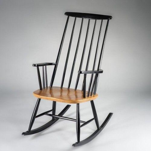 rocking chair scandinave des ann es 50 attribu au c l bre designer finlandais ilmari tapiovaara. Black Bedroom Furniture Sets. Home Design Ideas