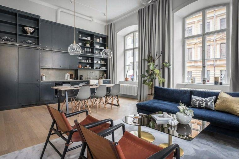 Soggiorni moderni immagini, divano di colore blu, cucina ...