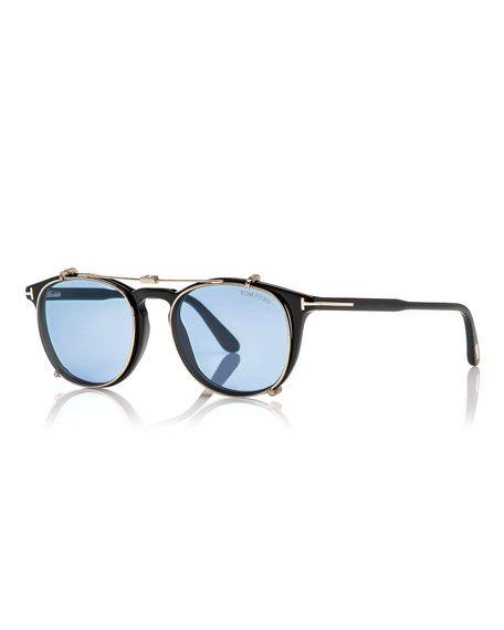 dea9281a3a09 TOM FORD Round Optical Frames W Clip-On Sunglasses Shades