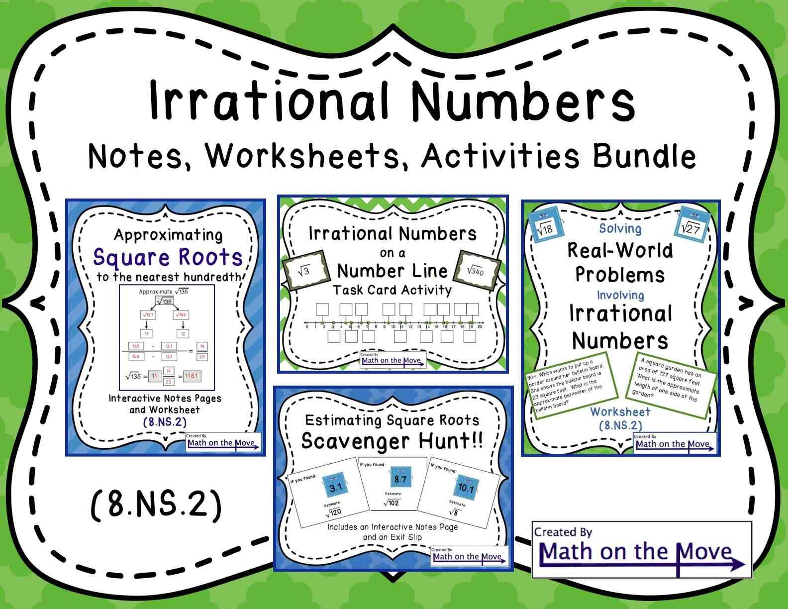 Irrational Numbers Bundle Notes Worksheets And Activities 8 Ns 2 Irrational Numbers Math Worksheets Line Math [ 1224 x 1584 Pixel ]