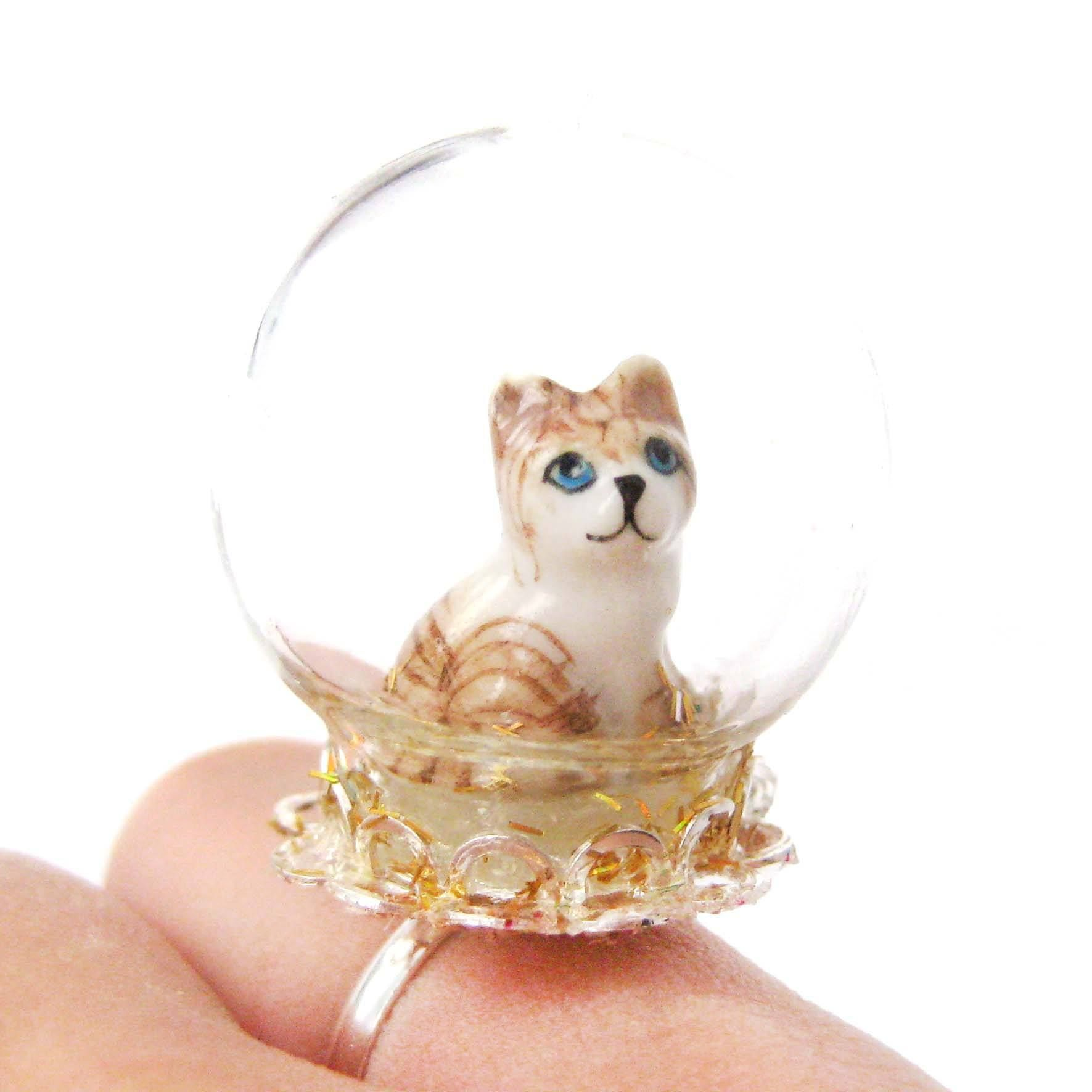 Adorable Porcelain Striped Kitty Cat Glass Snow Globe Bubble Adjustable Ring Animal Jewelry In 2020 Animal Jewelry Snow Globes Animal Themed Jewelry