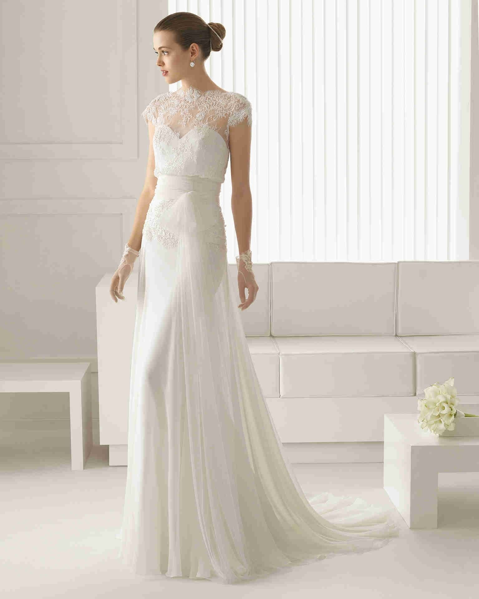 Romance Illusion Short Sleeve Sheath Column Bridal Wedding Dress