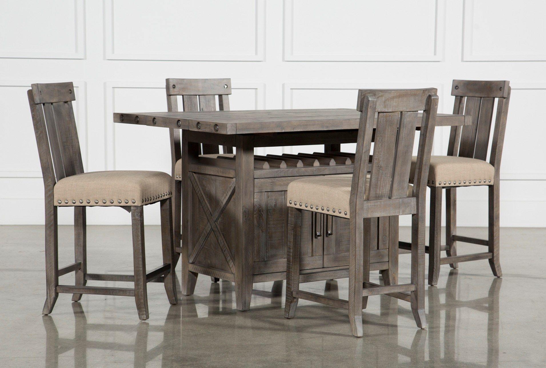 Jaxon Grey 5 Piece Extension Counter Set W Wood Stools Dining