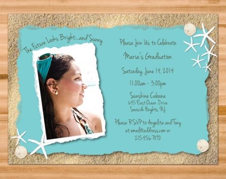 Printable Beach Theme Graduation Party Invitation Customized