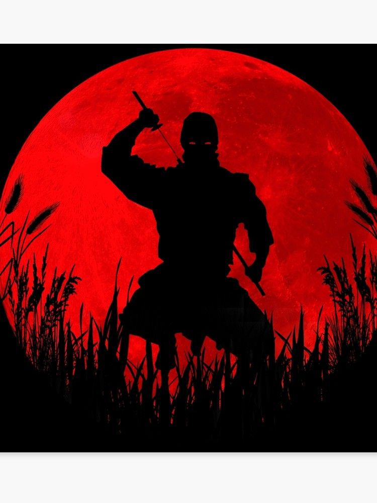 Red Moon Ninja Canvas Print By Maryedenoa In 2021 Ninja Tattoo Samurai Art Ninja Art