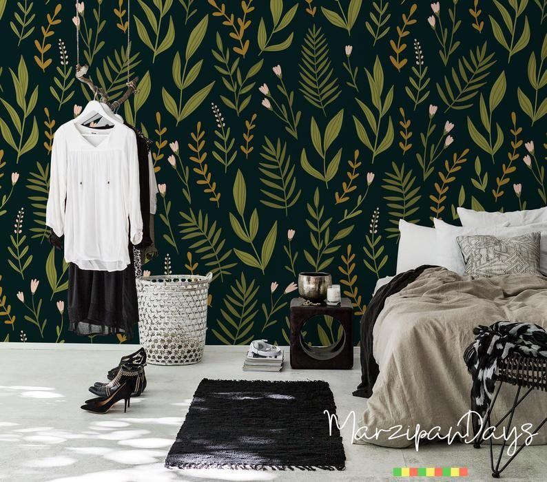 Herbs dark floral wallpaper Botanical wallpaper Removable | Etsy