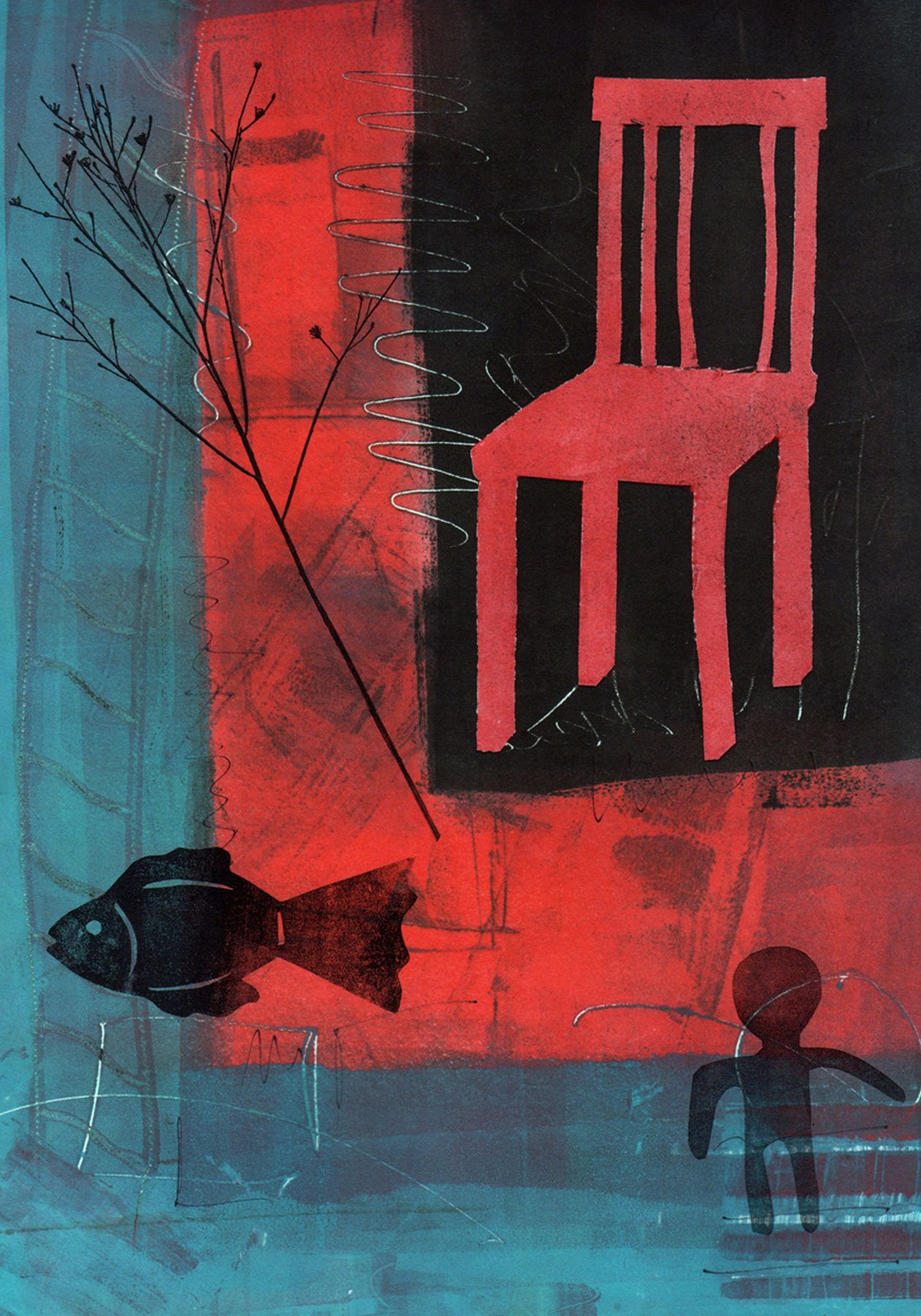 Red Chair Art Chair Art Painting Oil Abstract