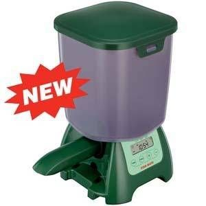 Fish Mate P7000 Pond Fish Feeder For Sale and Home Delivery. It is important to your fishes' health that they are fed regular controlled portions in order to maximise growth and vitality, without the risks of overfeeding. Variable feed sizes are dispensed at times programmed by you or on demand at the touch of a button. Ideal for holiday feeding, the feeder's green colour blends harmoniously into the garden environment.