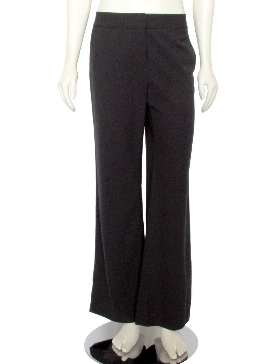 Classic wide leg trouser from women's career wear designer Lafayette 148 New York! Pant feature a natural rise with wide waistband , zip fly and double hook closure, slant pockets at the hips, two welt pockets in the back, and fluid wide leg cut with a 31