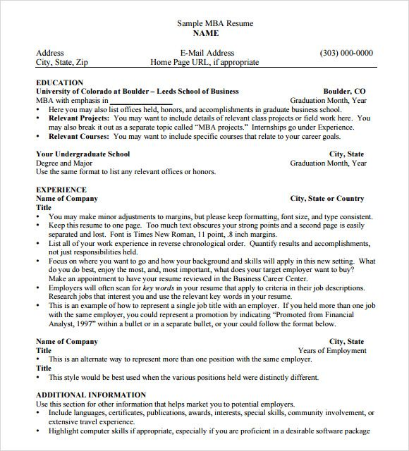 10 mba resume templates free sles exles format Bu Tarz Benim - mba resume template
