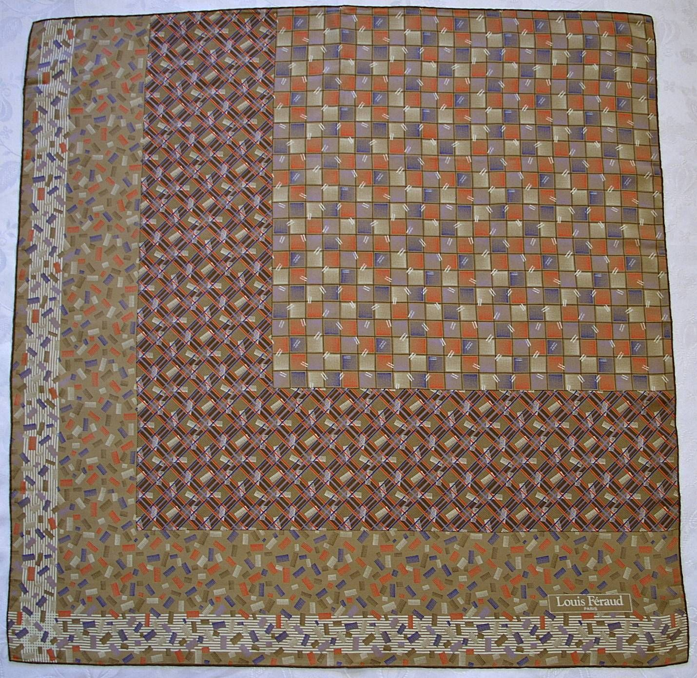 "France Vintage Authentic Louis Feraud Paris Geometric Art Silk 30"" Square Scarf 