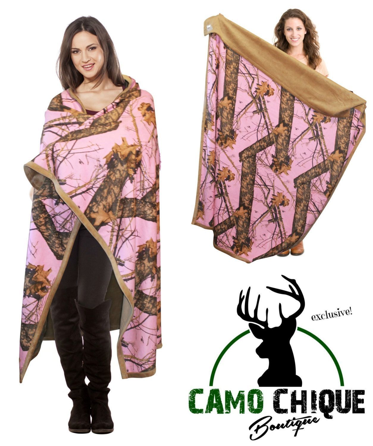 Pink Mossy Oak Camo Blanket Faux Suede Throw Adult Size 56x70