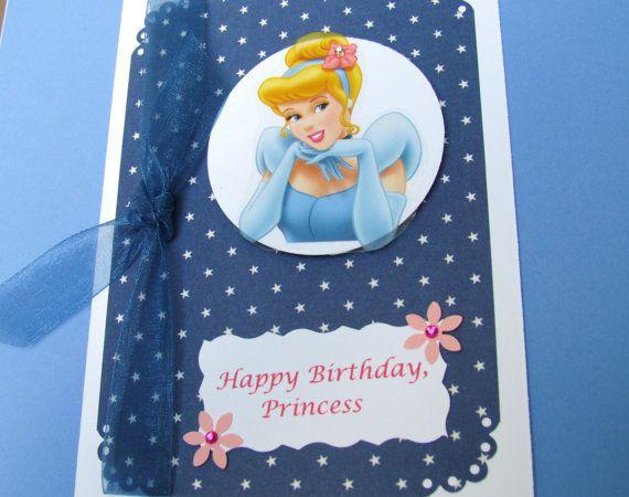 Cinderella Birthday Card Handmade Disney Princess Card Etsy Princess Card Girl Birthday Cards Cinderella Birthday