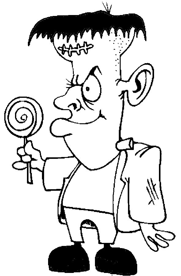Frankenstein lollipop 2 coloring page happy lollipop for Frankenstein coloring pages to print