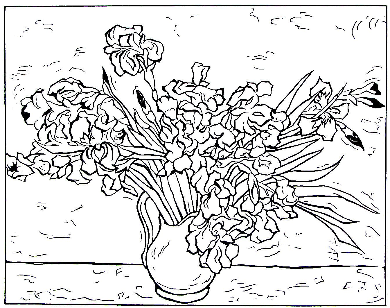 Still Life Vase With Irises Impressionist Painting By Vincent Van Gogh Printable Coloring Book
