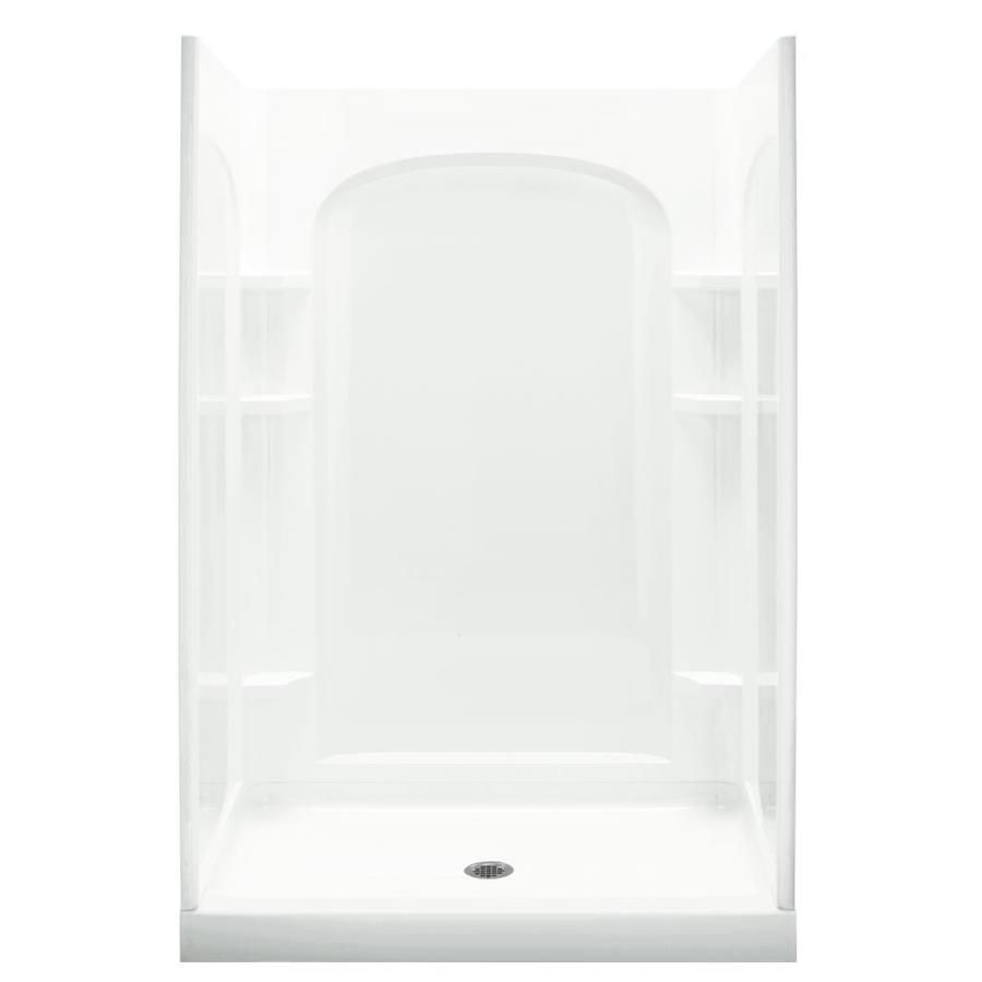 Sterling Ensemble White 4 Piece Alcove Shower Kit Common 34 In X