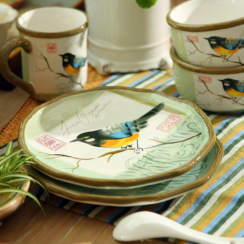 Free Shipping 8 Inch Hand painted Tableware Wedding House Warming Gift Ceramic Plates Dishes Dinner Plate & Free Shipping 8 Inch Hand painted Tableware Wedding House Warming ...