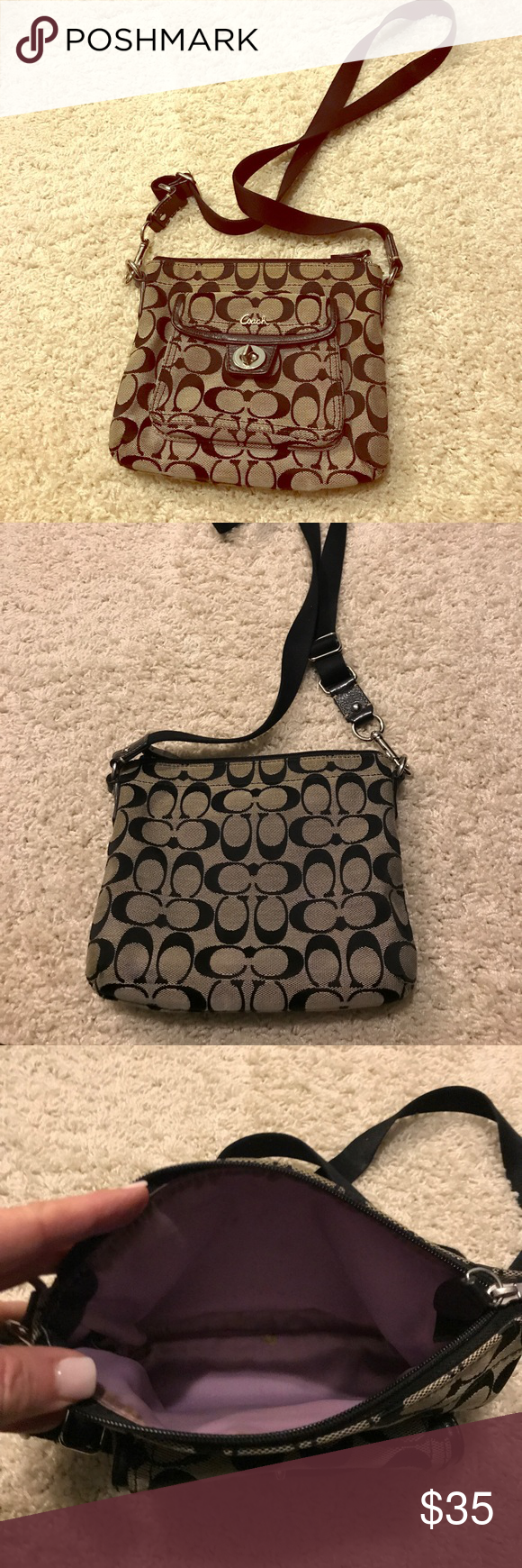 29dc2dc7f8f1 Coach Crossbody Bag Excellent Condition. Coach Fabric with Black ...