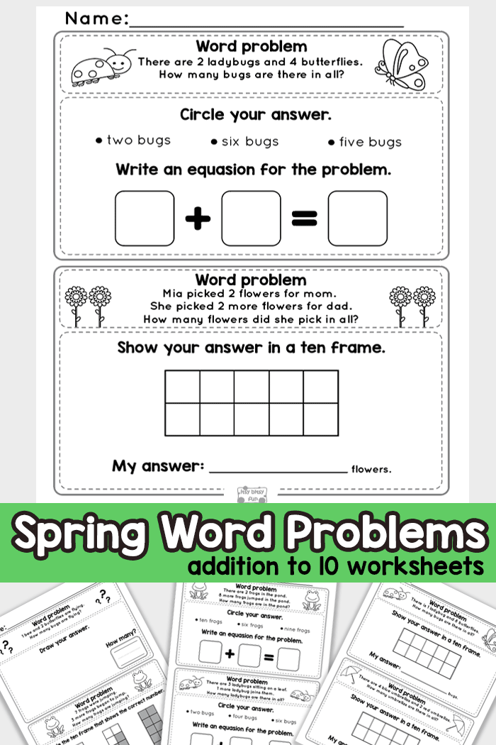 Spring Word Problems Addition To 10 Worksheets Kindergarten And