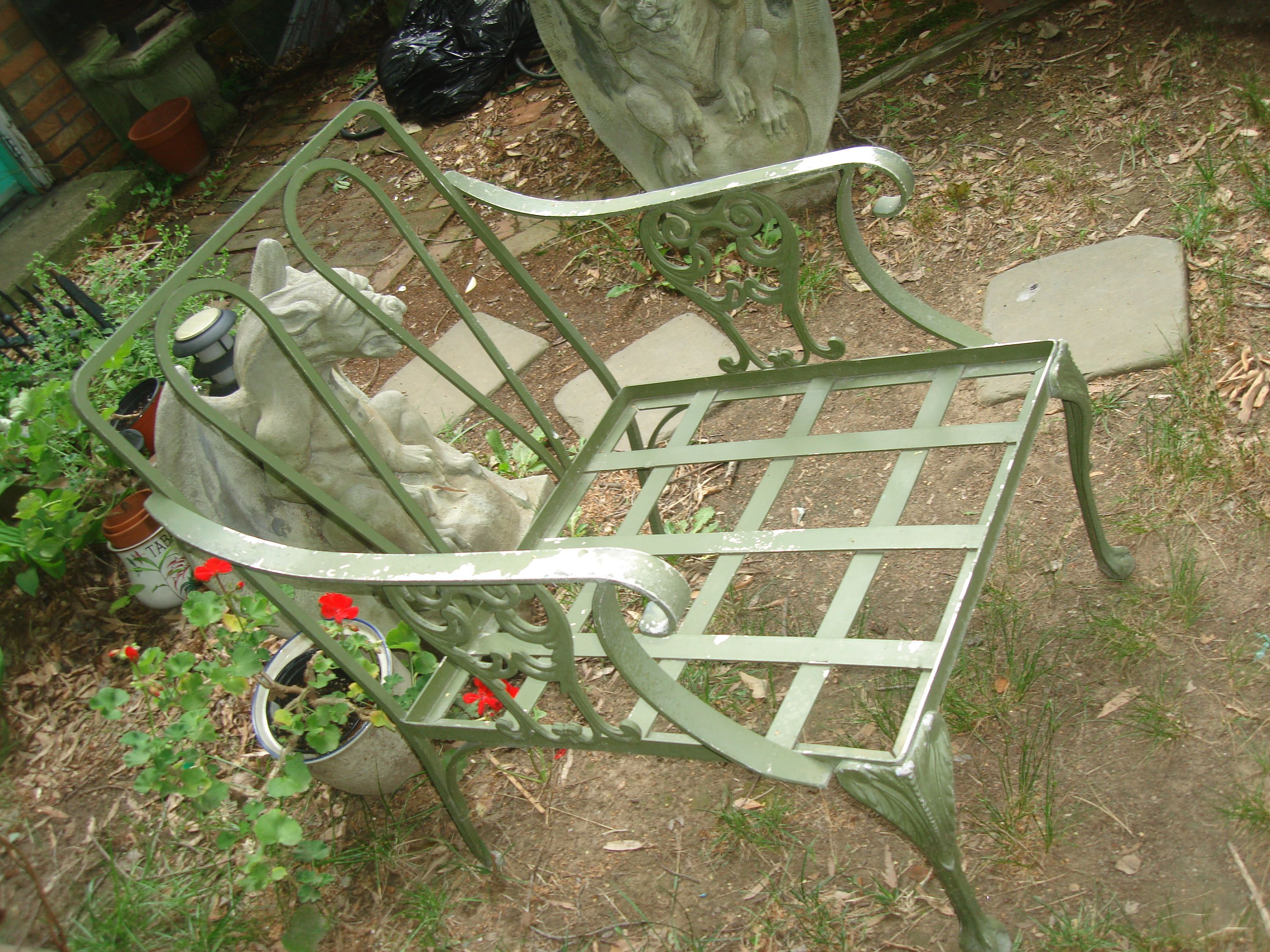RESERVED For LEANNE antique metal outdoor furniture vintage