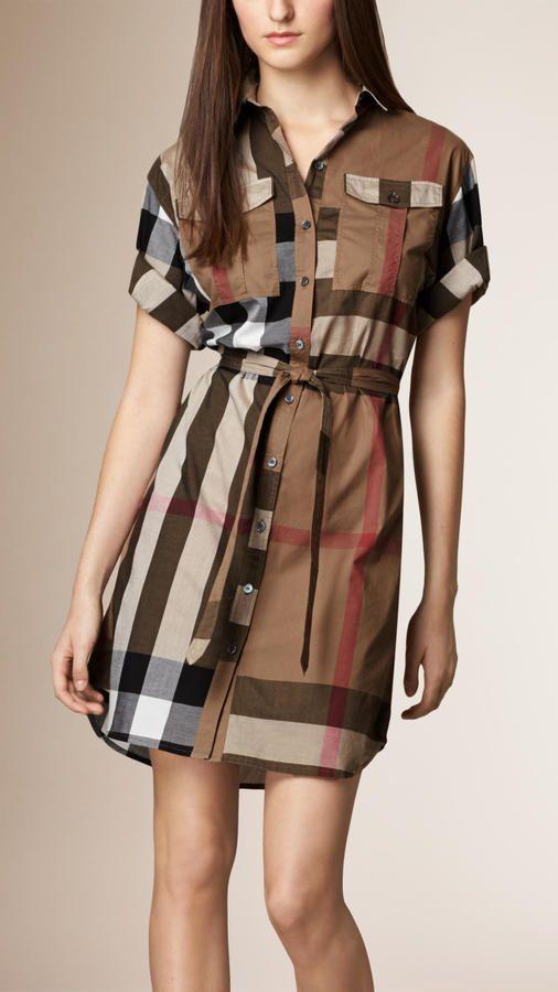 Burberry Brit Check Cotton Box Fit Shirt Dress Fashion
