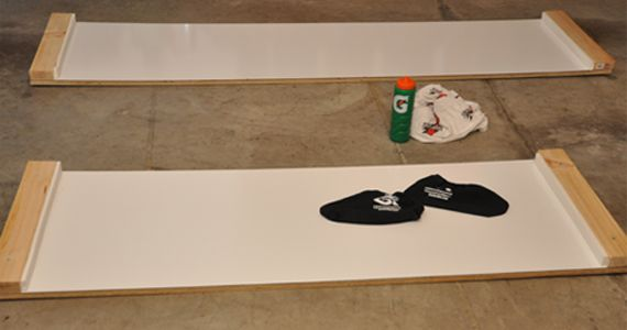 Make your own slideboard for exercise for SO MUCH CHEAPER than buying one! Build your own hockey slide ...