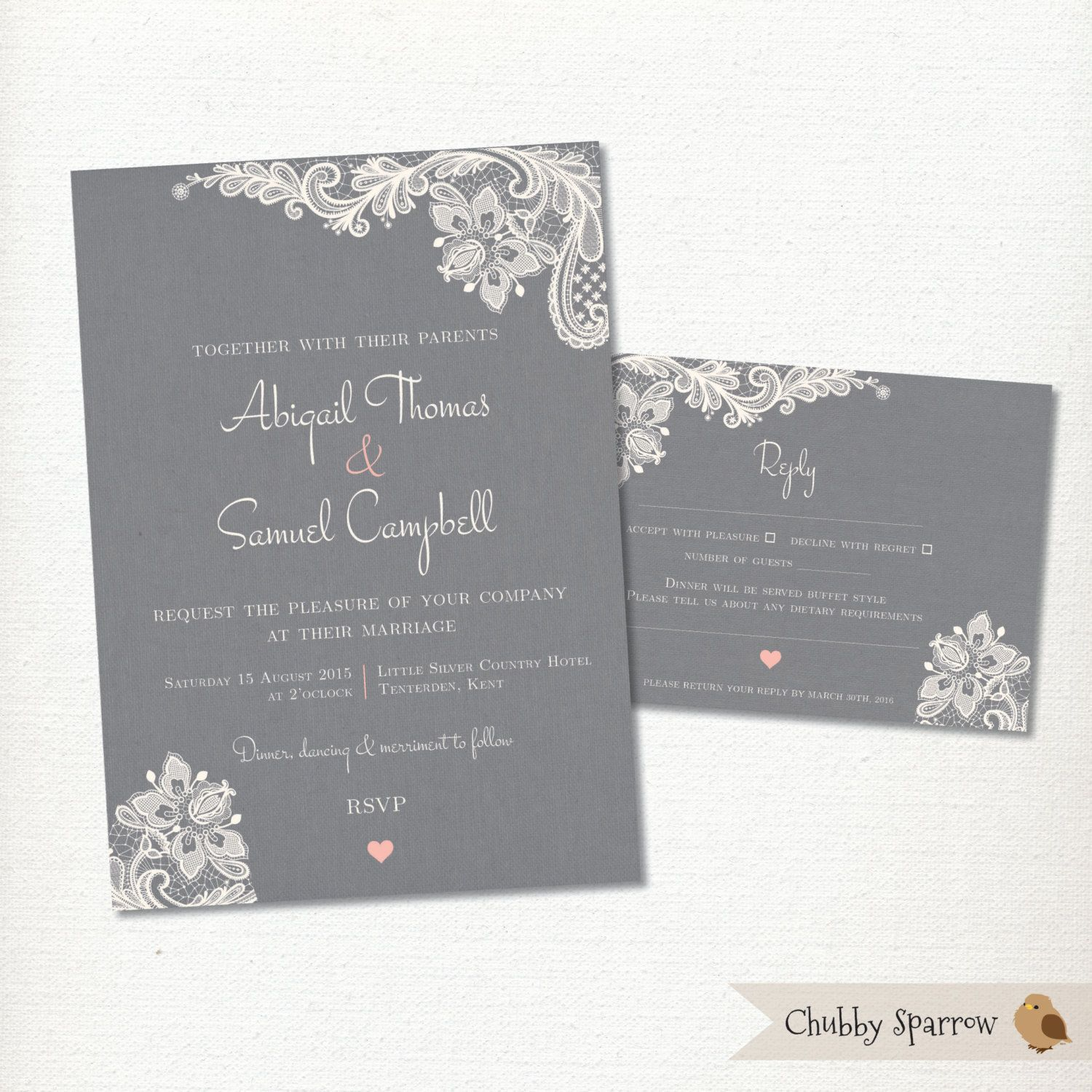 Lace Grey Linen Invitation And Rsvp Card Set Wedding Engagement Print At Home