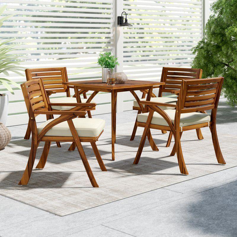 Mercury Row Ajax 5 Piece Teak Dining Set With Cushions Reviews Wayfair Patio Dining Set Teak Outdoor Furniture Patio Furnishings