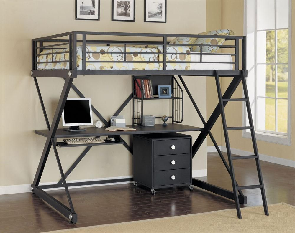 Loft bed with desk underneath  Gabe Strong gabestrong on Pinterest