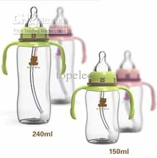 Silicone Flexible Baby Milk Bottle Wide Mouth Feeder Bottle Rotatable Straw Set