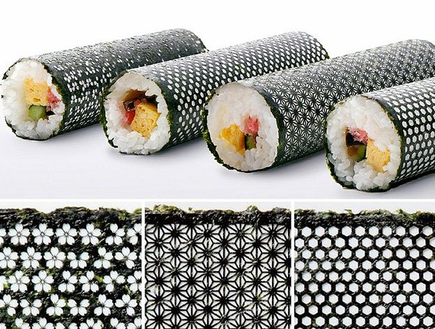 Laser cutter + Japanese Nori = Super awesome Sushi Rolls.