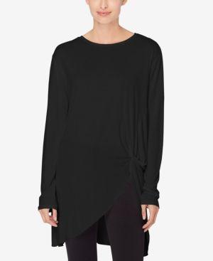 1cbad99876c Catherine Catherine Malandrino Knotted Asymmetrical Tunic - Black S ...