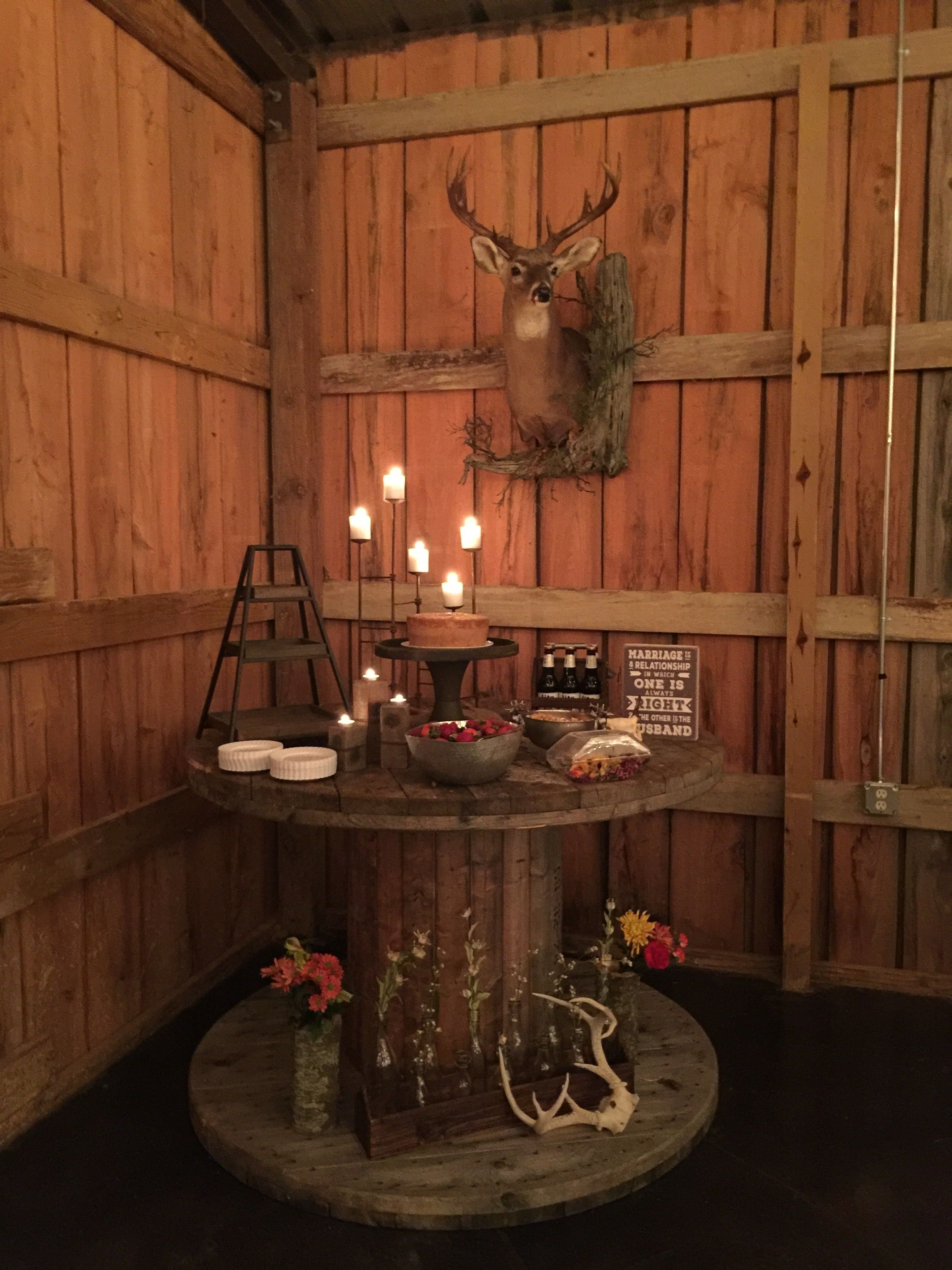 bb17933e5952 Rustic grooms cake table at The Hideaway! | Cake tables at The ...